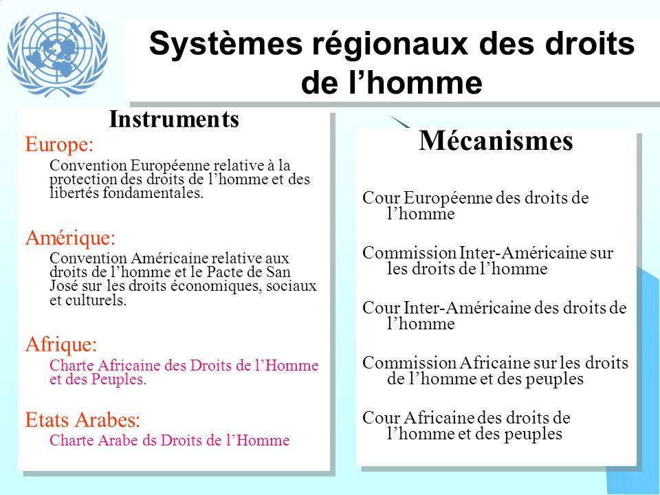 Systèmes régionaux des droits de l'homme