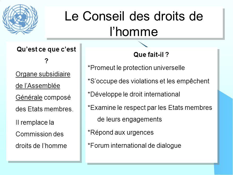 Le Conseil des droits de l'homme
