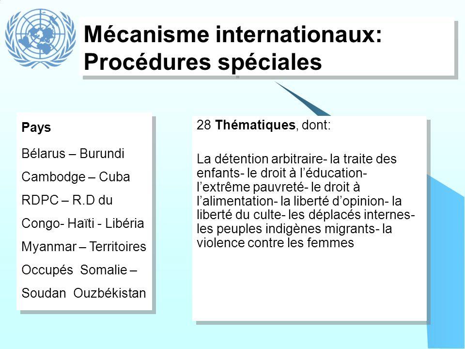 Mécanisme internationaux: Procédures spéciales