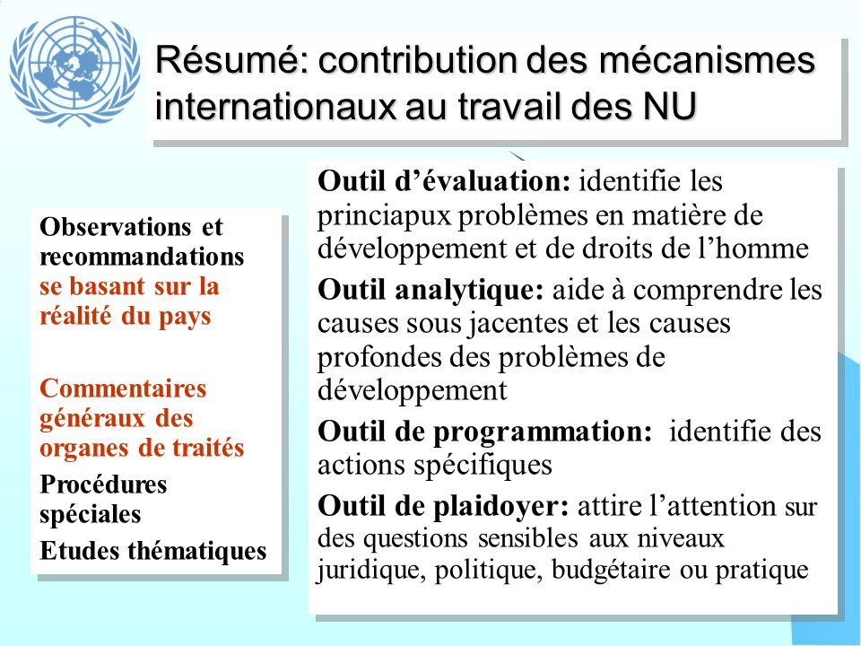 Résumé: contribution des mécanismes internationaux au travail des NU