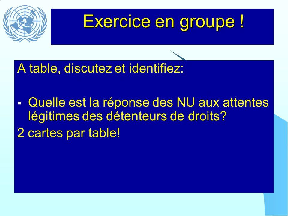 Exercice en groupe ! A table, discutez et identifiez: