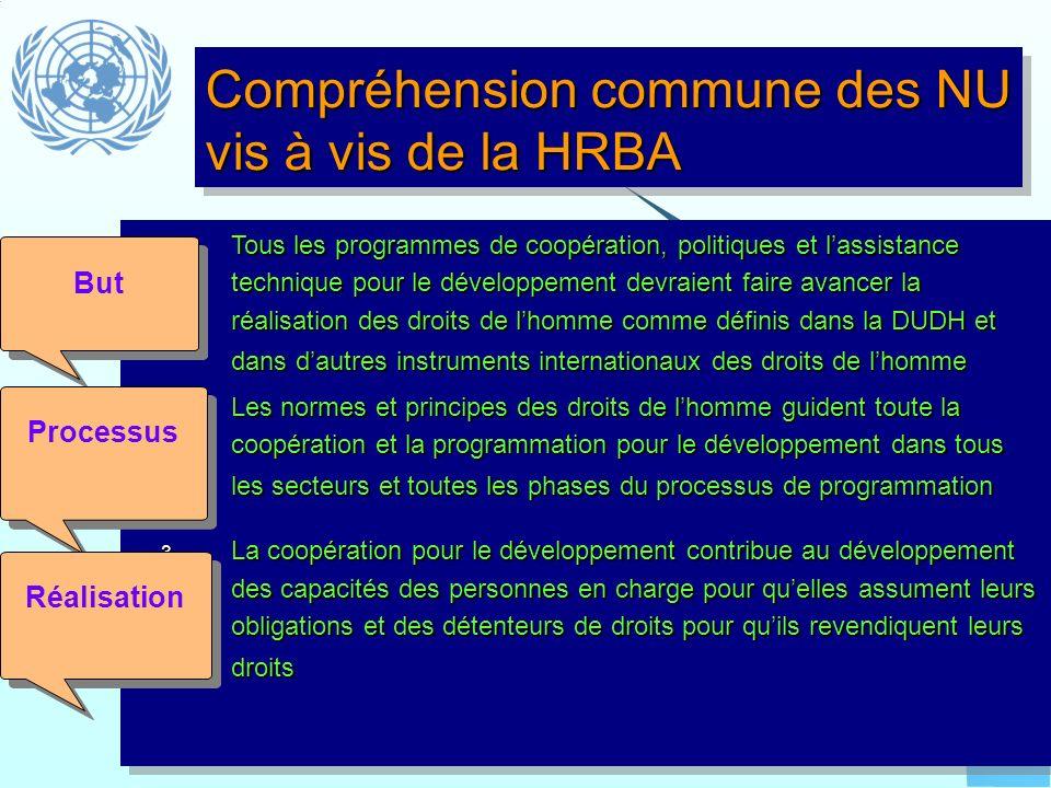 Compréhension commune des NU vis à vis de la HRBA
