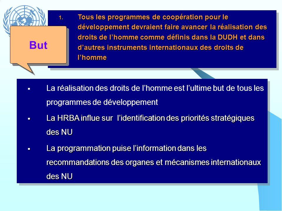 Tous les programmes de coopération pour le développement devraient faire avancer la réalisation des droits de l'homme comme définis dans la DUDH et dans d'autres instruments internationaux des droits de l'homme