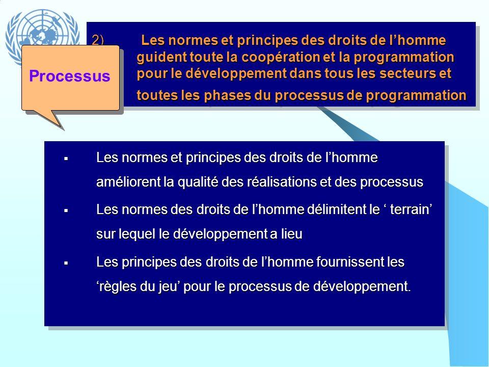 2) Les normes et principes des droits de l'homme guident toute la coopération et la programmation pour le développement dans tous les secteurs et toutes les phases du processus de programmation