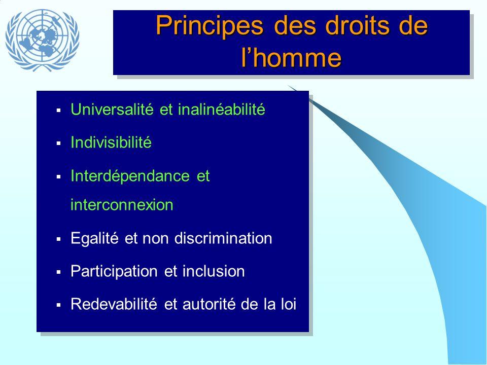 Principes des droits de l'homme