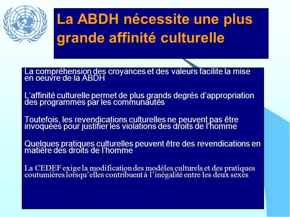 La ABDH nécessite une plus grande affinité culturelle