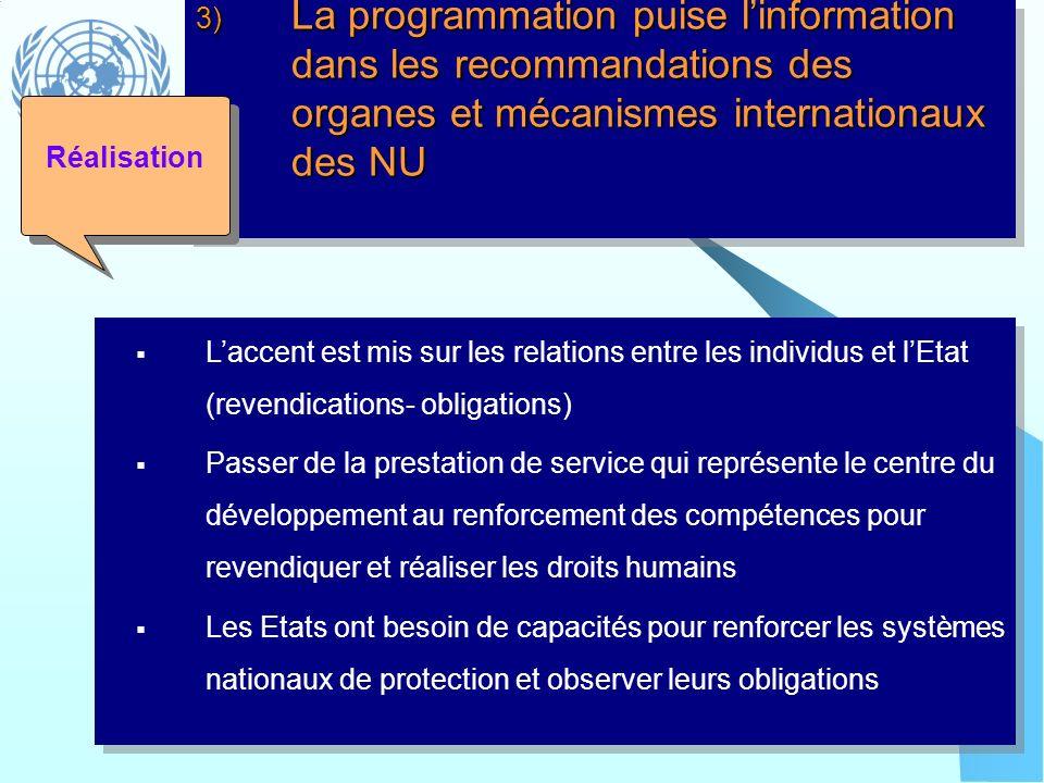 3) La programmation puise l'information dans les recommandations des organes et mécanismes internationaux des NU