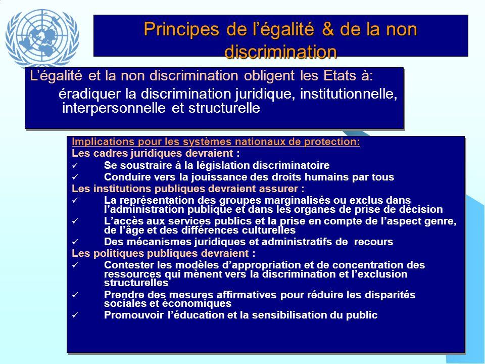 Principes de l'égalité & de la non discrimination