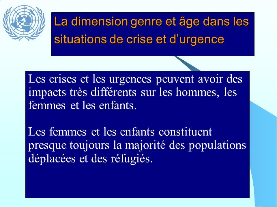 La dimension genre et âge dans les situations de crise et d'urgence