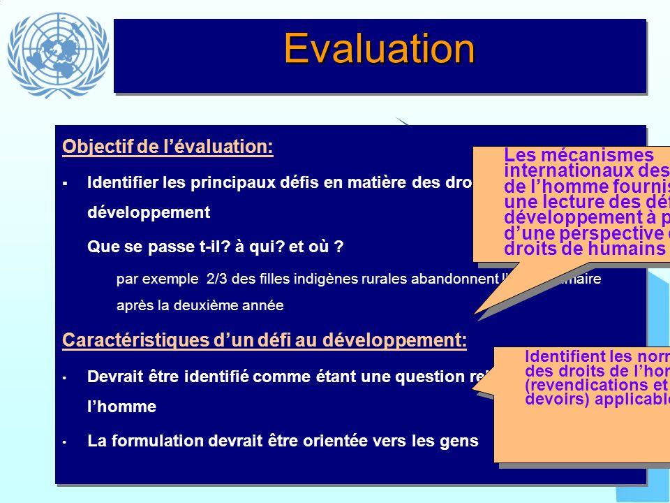 Evaluation Objectif de l'évaluation: