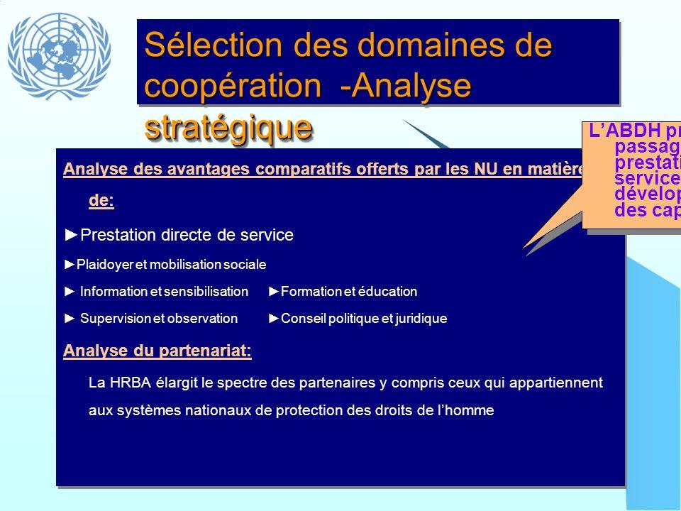 Sélection des domaines de coopération -Analyse stratégique