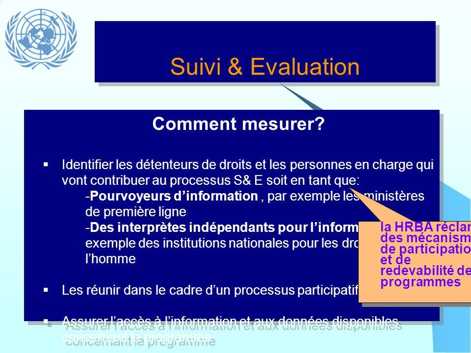 Suivi & Evaluation Comment mesurer