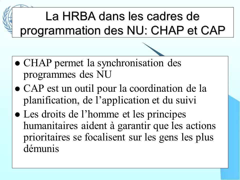 La HRBA dans les cadres de programmation des NU: CHAP et CAP