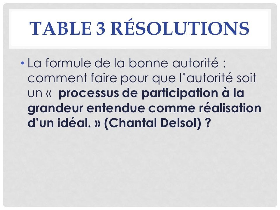 Table 3 résolutions