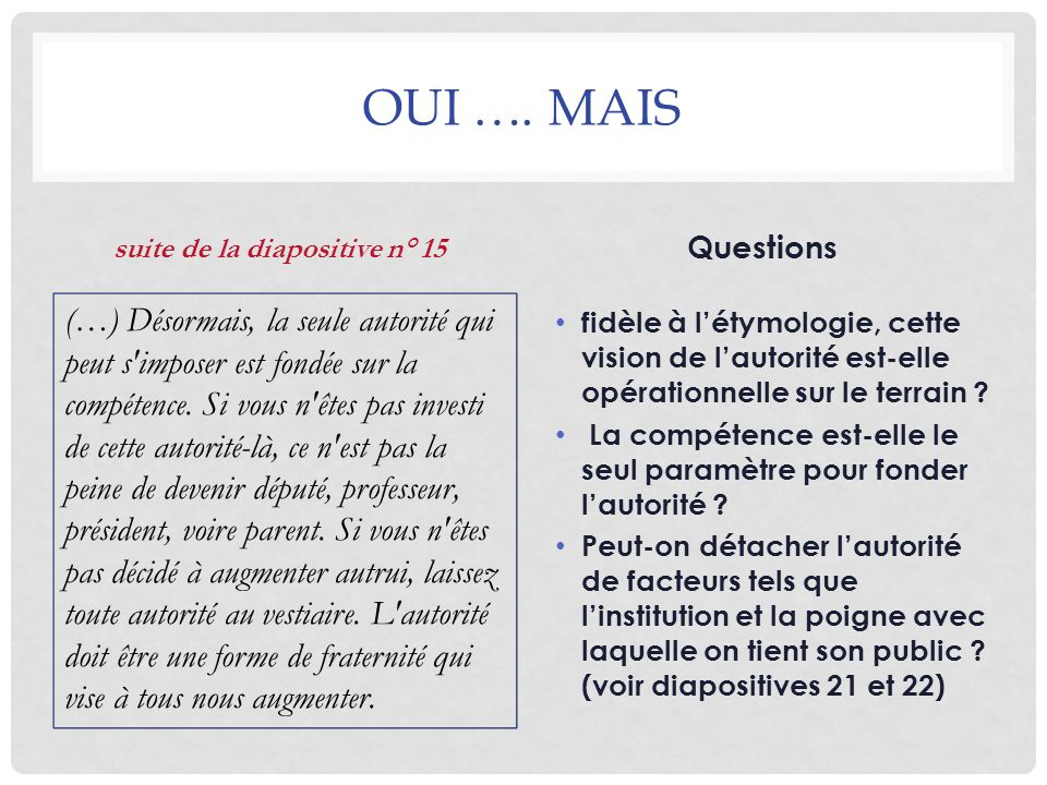 suite de la diapositive n° 15