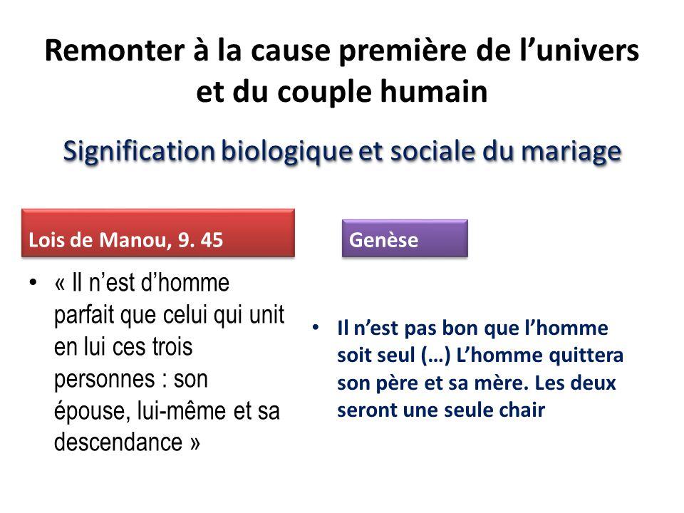 Signification biologique et sociale du mariage