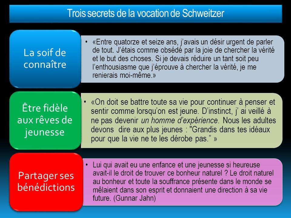 Trois secrets de la vocation de Schweitzer