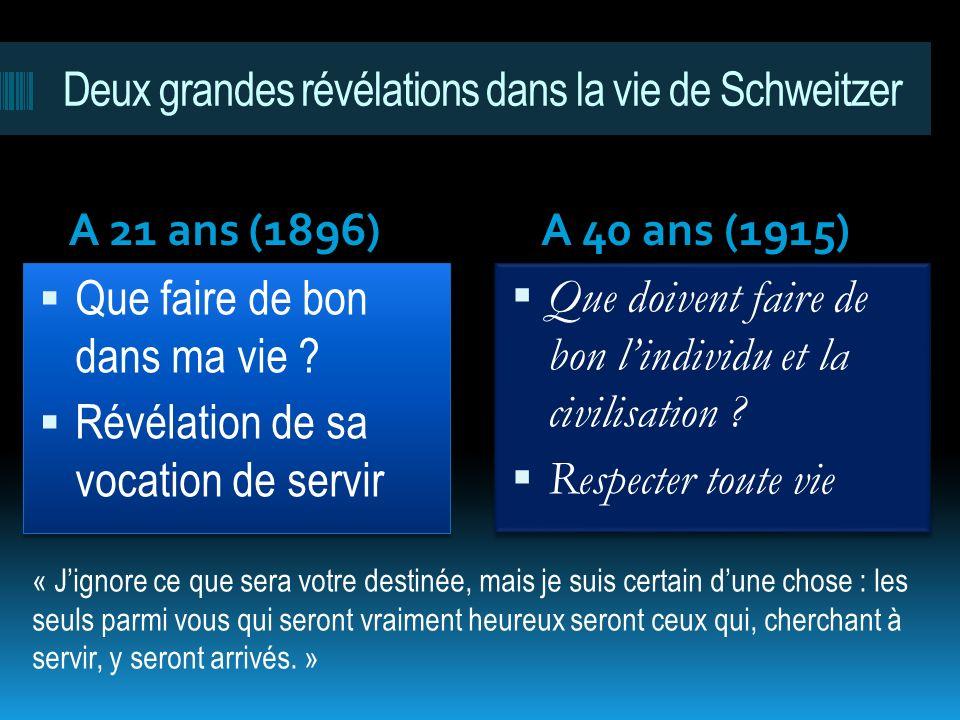 Deux grandes révélations dans la vie de Schweitzer