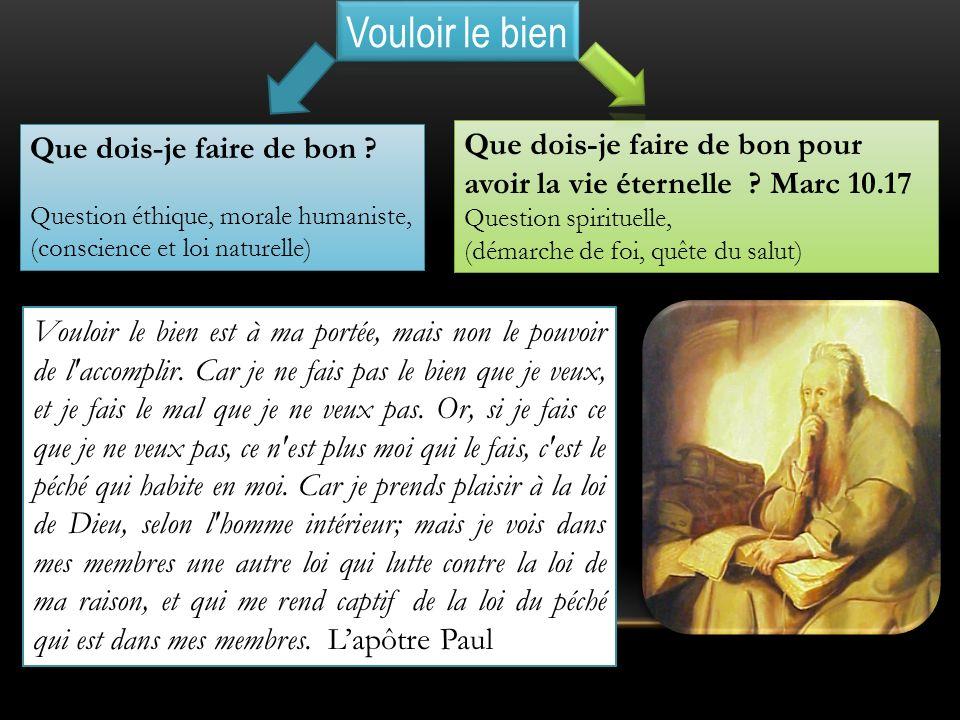 Vouloir le bien Que dois-je faire de bon Question éthique, morale humaniste, (conscience et loi naturelle)