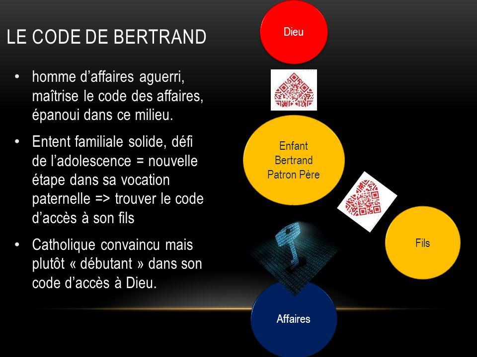 Le code de Bertrand Dieu. homme d'affaires aguerri, maîtrise le code des affaires, épanoui dans ce milieu.