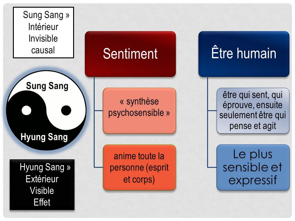 « Sung Sang » Intérieur. Invisible. causal. Sentiment. « synthèse psychosensible » anime toute la personne (esprit et corps)
