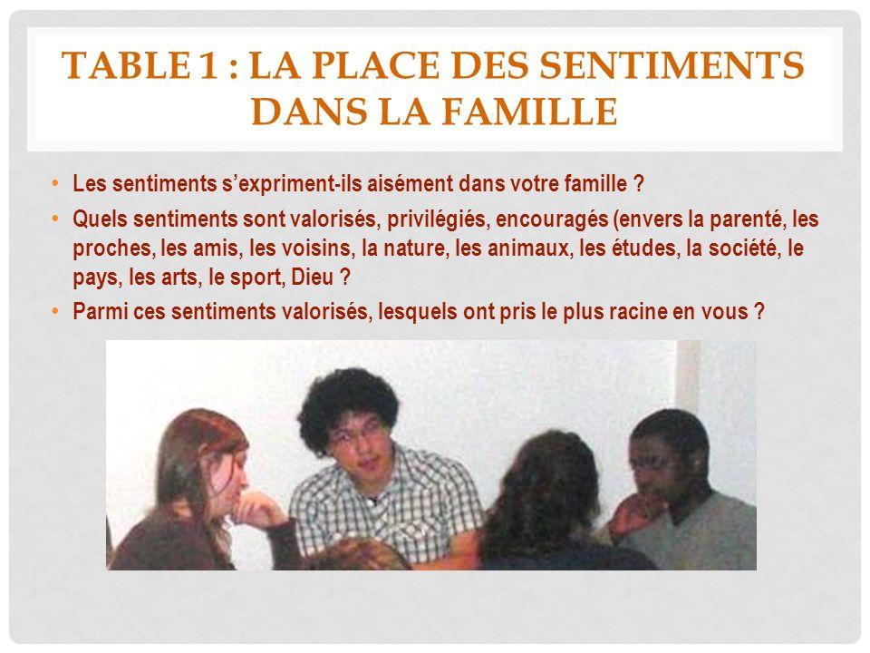 Table 1 : la place des sentiments dans la famille