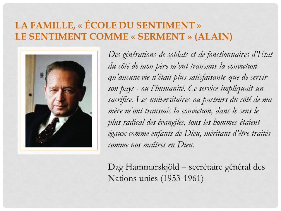 LA FAMILLE, « ÉCOLE DU SENTIMENT » LE SENTIMENT COMME « SERMENT » (ALAIN)