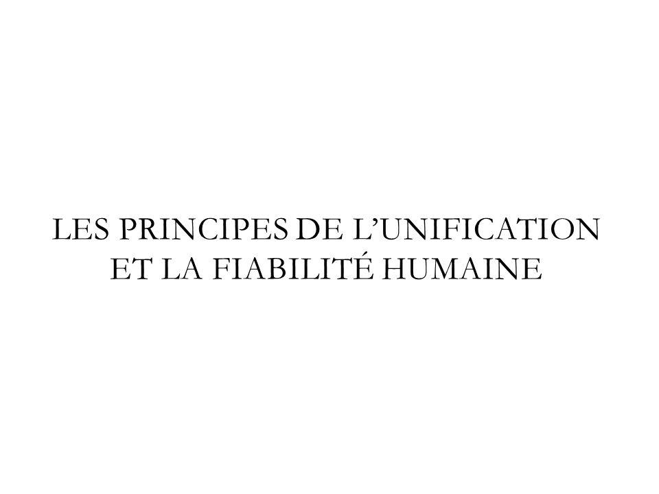 Les Principes de l'unification et la fiabilité humaine