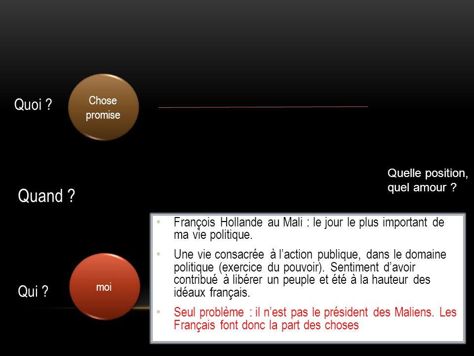 Chose promise Quoi Quelle position, quel amour Quand François Hollande au Mali : le jour le plus important de ma vie politique.