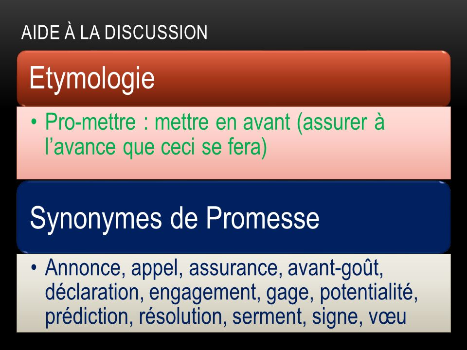 Etymologie Synonymes de Promesse