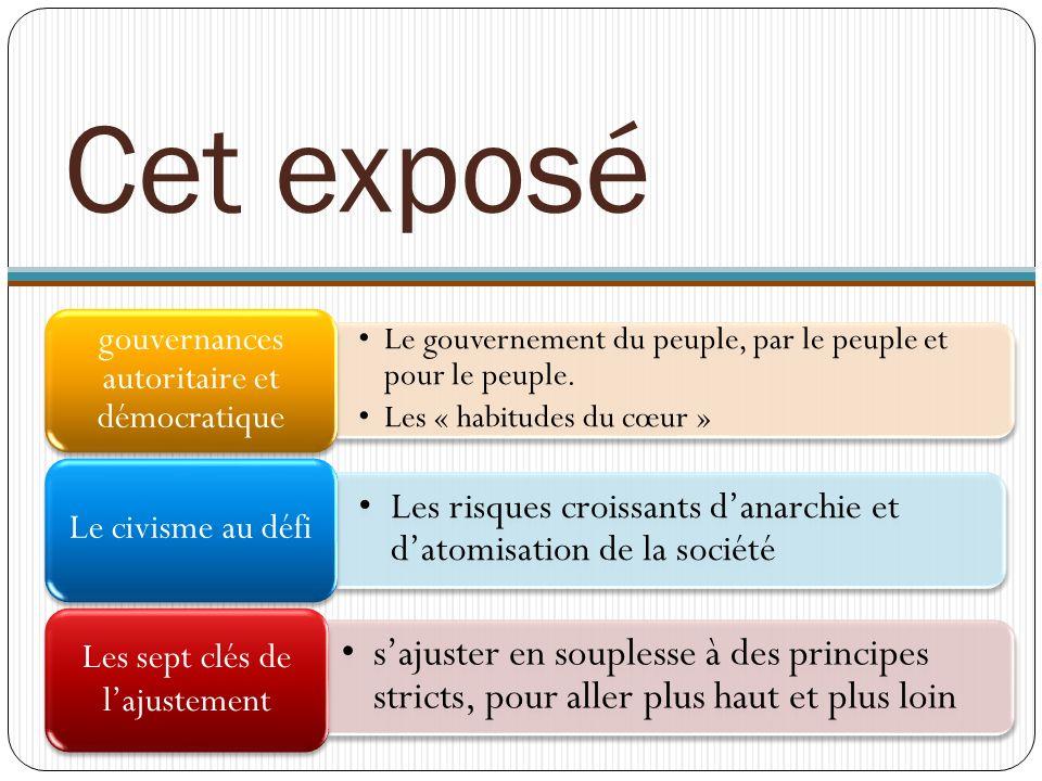Cet exposé Le gouvernement du peuple, par le peuple et pour le peuple. Les « habitudes du cœur » gouvernances autoritaire et démocratique.