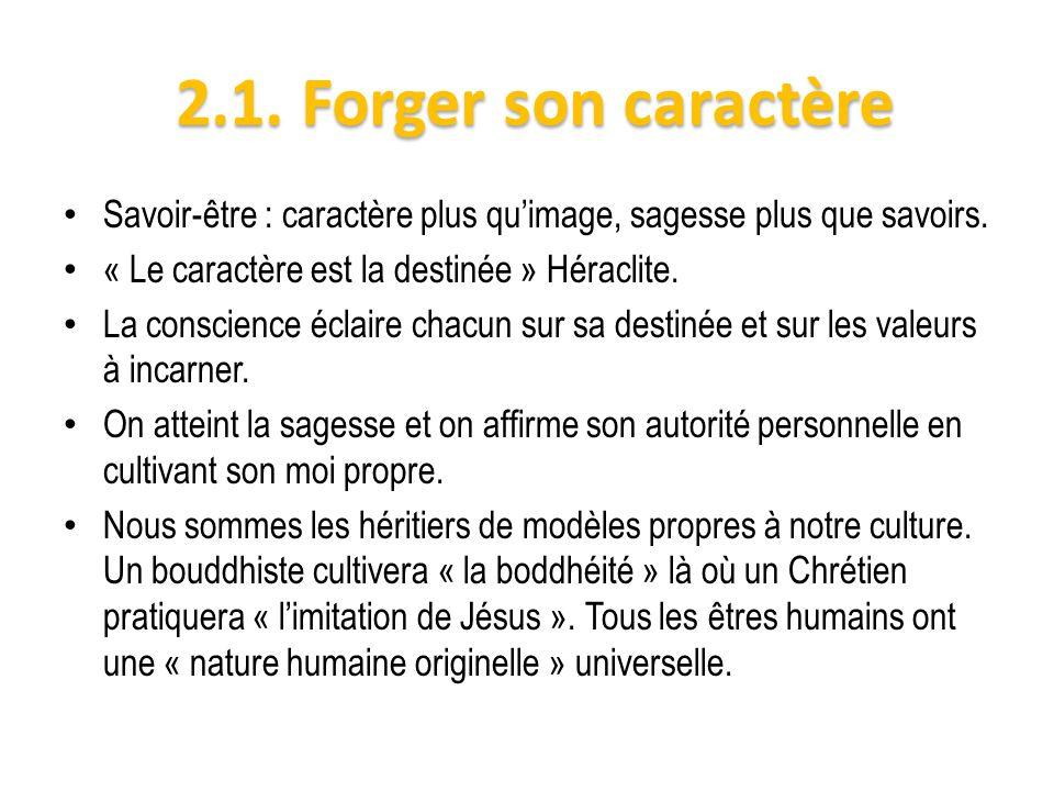 2.1. Forger son caractère Savoir-être : caractère plus qu'image, sagesse plus que savoirs. « Le caractère est la destinée » Héraclite.