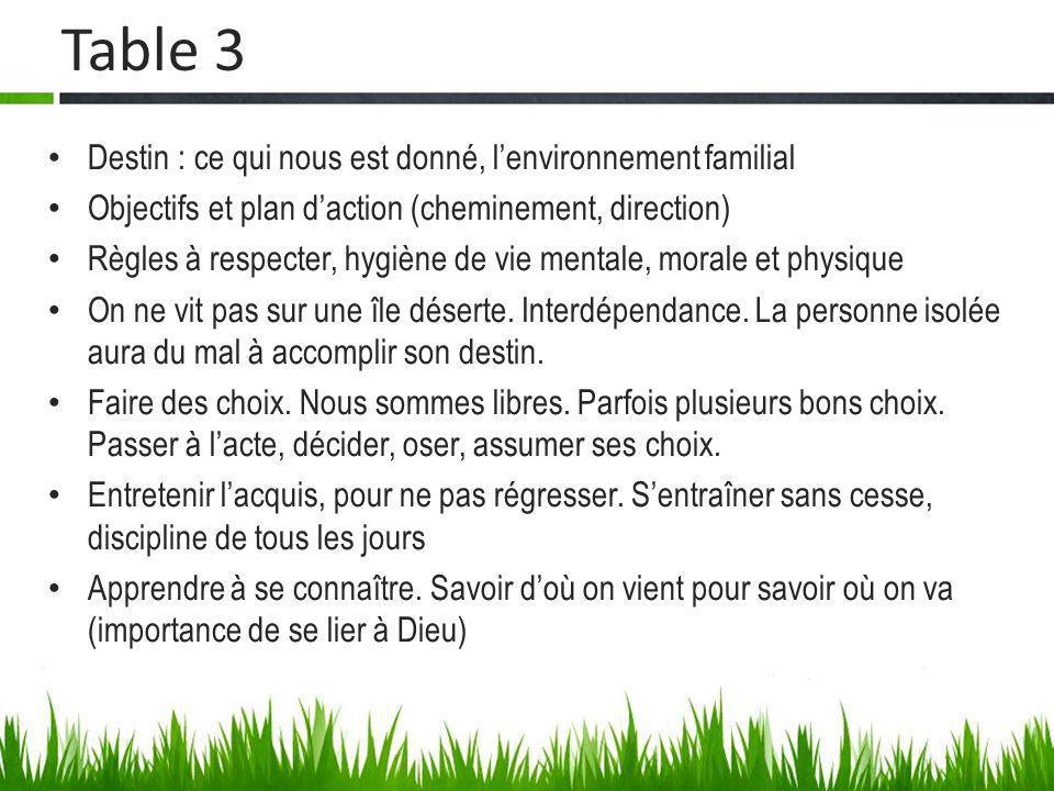 Table 3 Destin : ce qui nous est donné, l'environnement familial