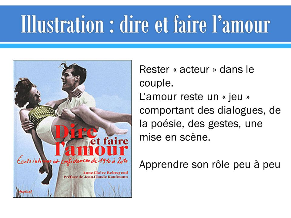 Illustration : dire et faire l'amour