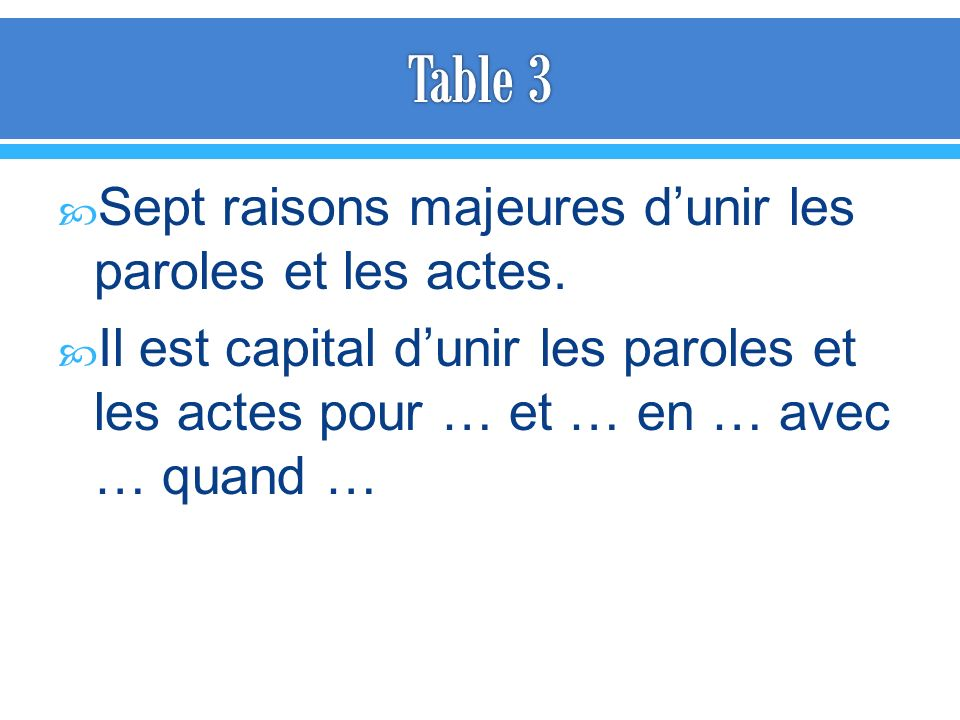 Table 3 Sept raisons majeures d'unir les paroles et les actes.