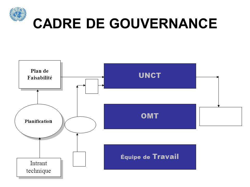 CADRE DE GOUVERNANCE UNCT OMT Intrant technique Plan de Faisabilité