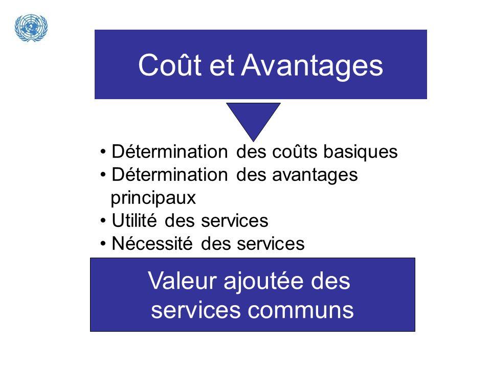 Coût et Avantages Valeur ajoutée des services communs