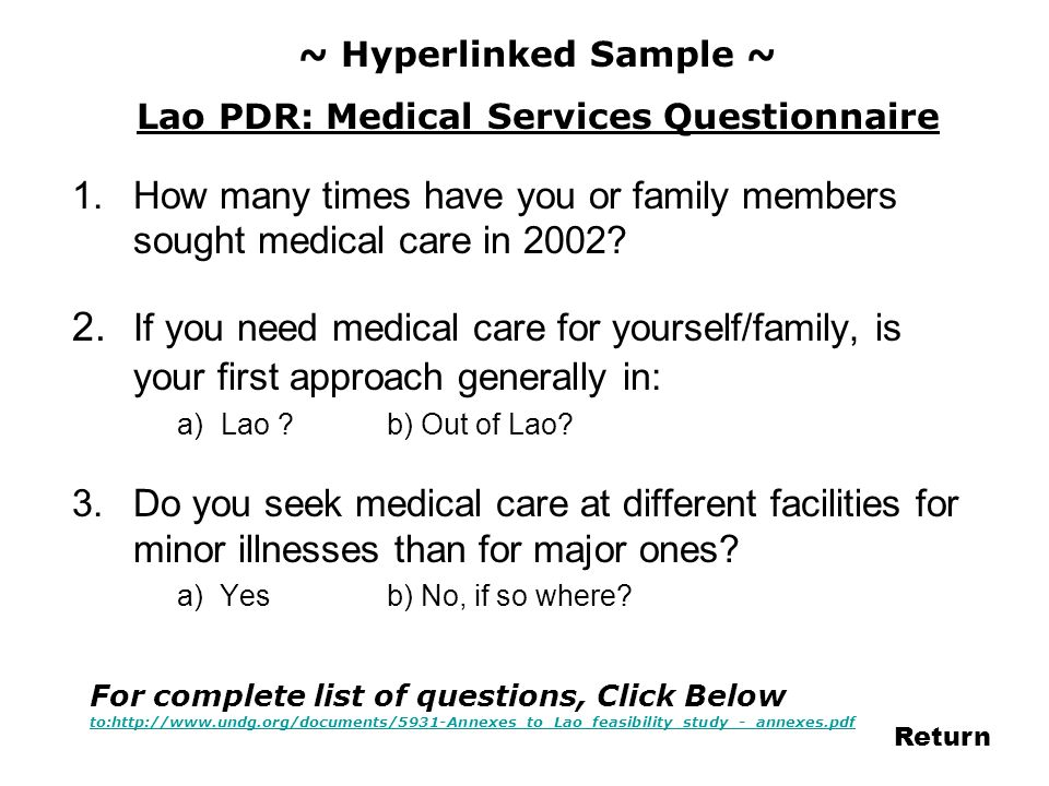 Lao PDR: Medical Services Questionnaire
