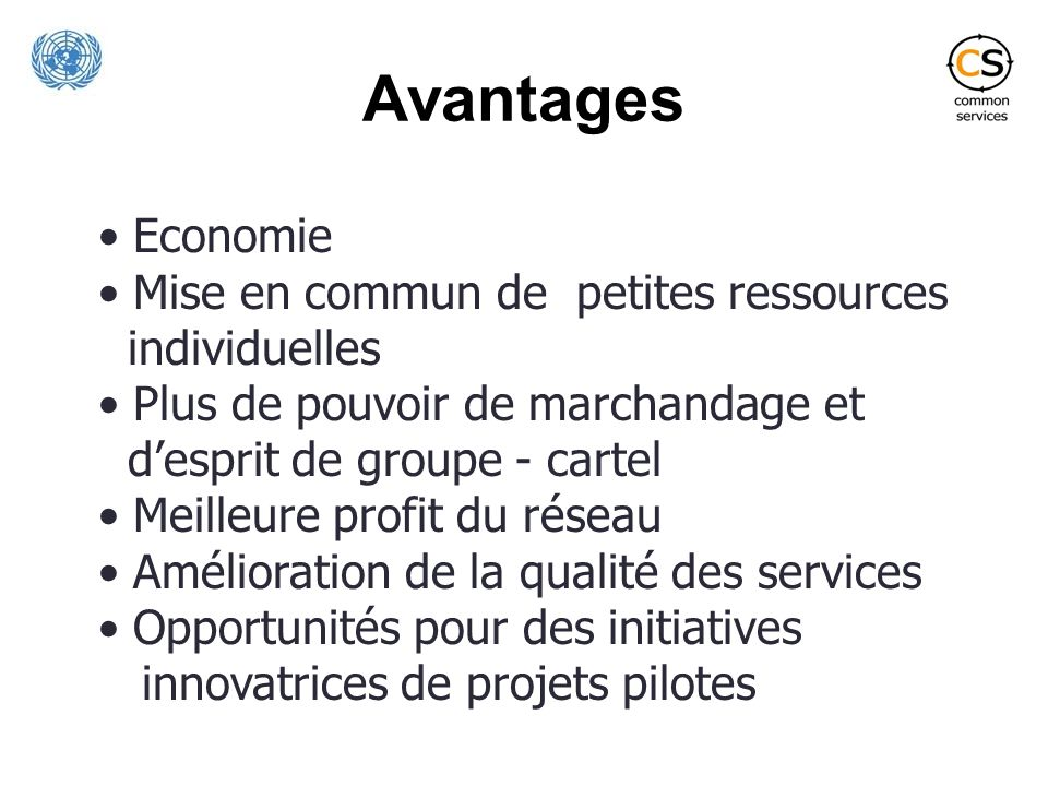 Avantages Economie Mise en commun de petites ressources individuelles