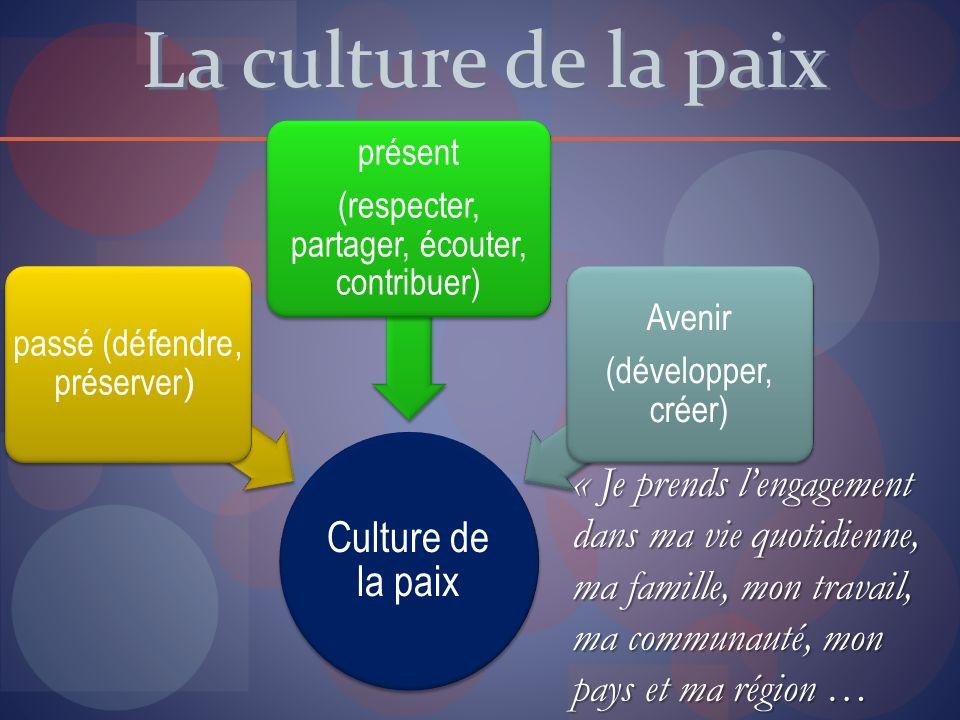 La culture de la paix Culture de la paix