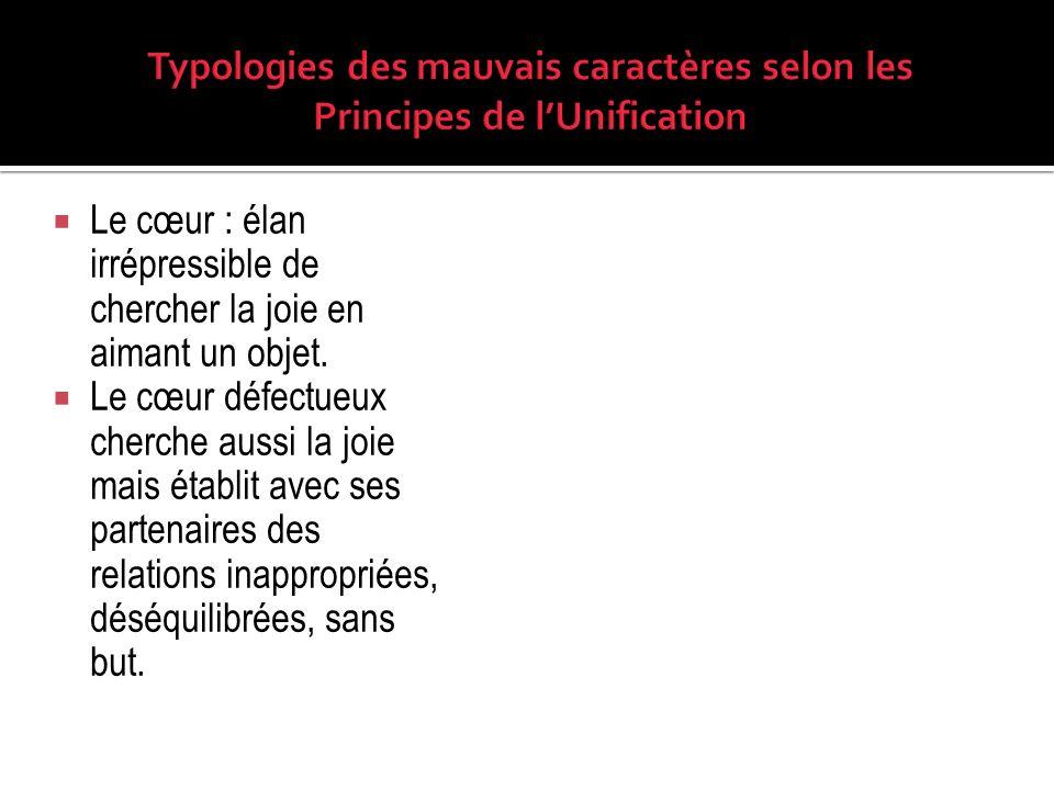 Typologies des mauvais caractères selon les Principes de l'Unification