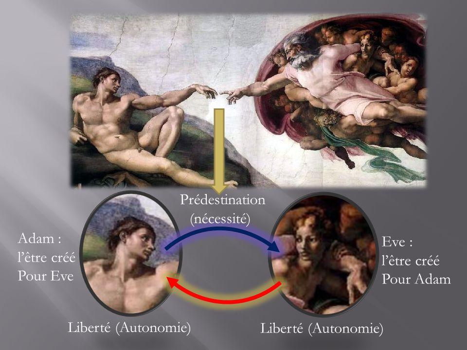 Prédestination (nécessité) Adam : l'être créé. Pour Eve. Eve : l'être créé. Pour Adam. Liberté (Autonomie)