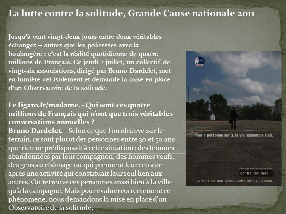 La lutte contre la solitude, Grande Cause nationale 2011