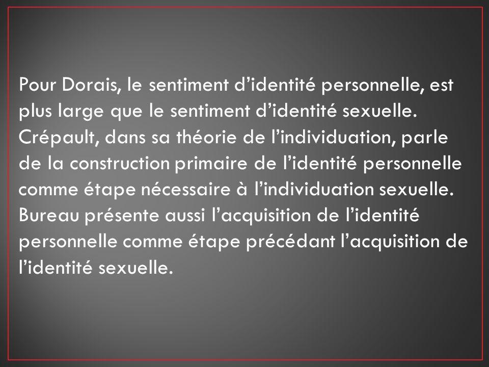Pour Dorais, le sentiment d'identité personnelle, est plus large que le sentiment d'identité sexuelle.
