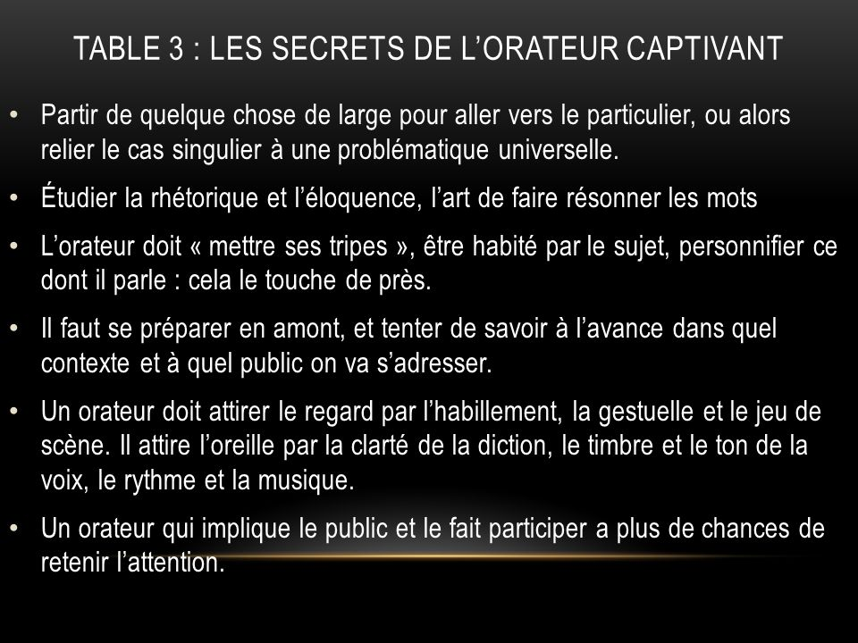 TABLE 3 : les secrets de l'orateur captivant