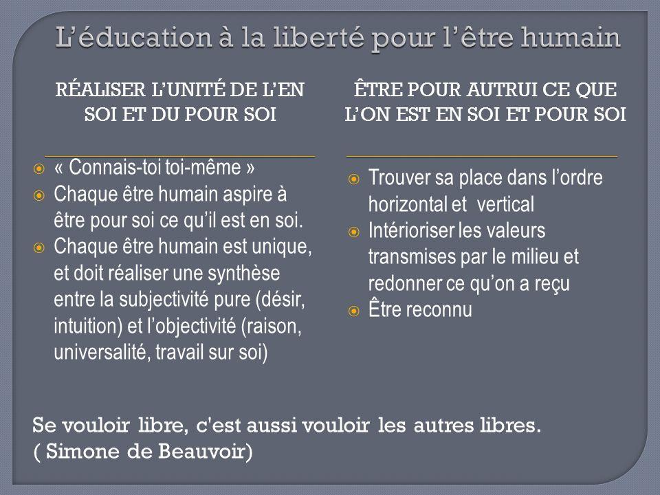 L'éducation à la liberté pour l'être humain