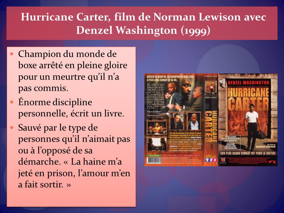 Hurricane Carter, film de Norman Lewison avec Denzel Washington (1999)