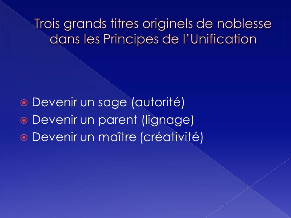 Trois grands titres originels de noblesse dans les Principes de l'Unification