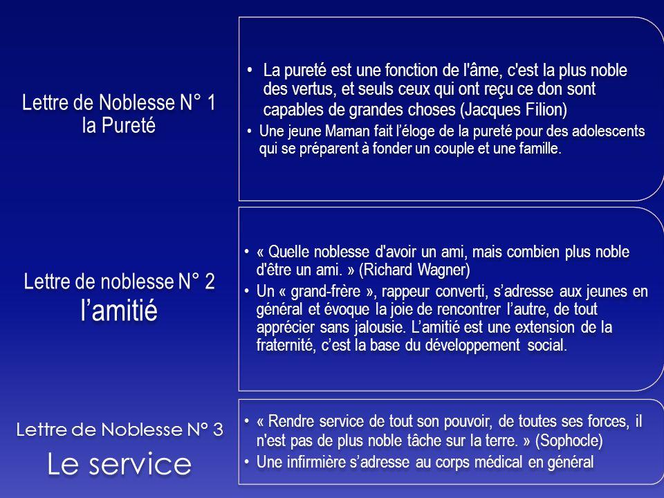 Le service Lettre de noblesse N° 2 l'amitié