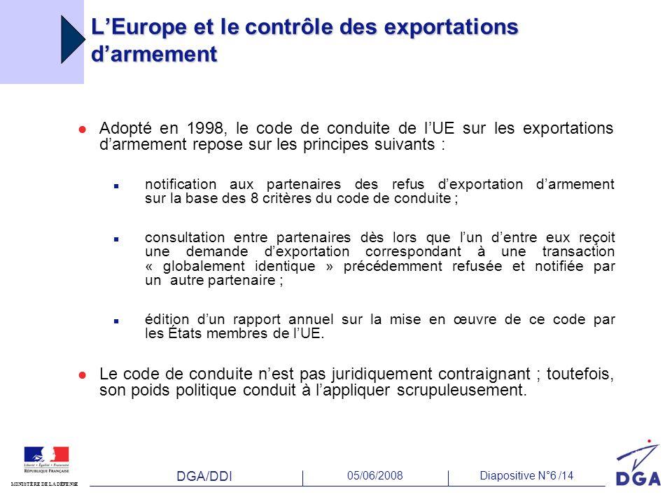 L'Europe et le contrôle des exportations d'armement